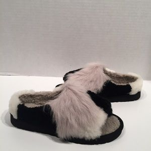 Ugg Patchwork Fur/ Fluff Slide Black Slipper